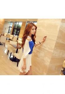 Korean Stylish Two Piece Dress - SD94307 (Blue)