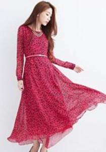 Korean Stylish Leopard Print Maxi Dress (With Belt) - SD95644 (Purple)