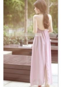 Korean Sexy Backless Chiffon Beach Dress - SD97566 (Purple)