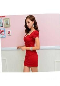 Korean Fashion Dress - SD98542 (Red)