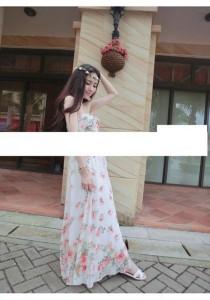 Stylish Sweet Flora Chiffon Tube Maxi Dress - SD99547