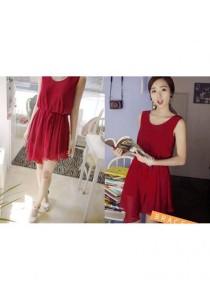 Fashion Chiffon Dress - SD99763 (Red)