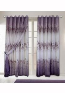 Set of 2-Piece Essina Rosebush 2 Layer Eyelet Curtain