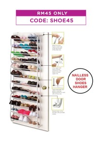 Nailless Door Hanging Shoes Rack Organizer Hanger (8 Layer)