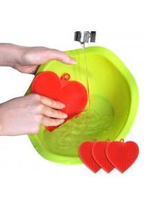 Korea Origin Easy&Home Ecomi Silicon Eco Scrubber Multi-Cleaning Master - Heart Shape 2 Pcs (FREE + 1 Pcs)