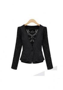 European Stylish Lace Jacket - SJ73876 (Black)