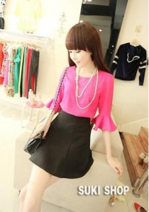 Korean Stylish Top & Skirt - SK9728 (Pink)