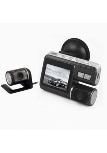 "2.0"" LCD IR LED Night Vision 720P Car DVR Dual Camera Recorder - Black"