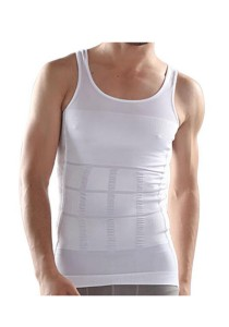 FASHION TEE Magic Body Shaper For Men Slimming Shirt Tummy Waist Vest (2pcs) (White)