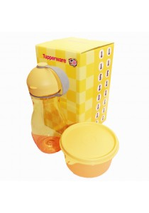 Tupperware Snack N Chess Yellow Eco Bottle Tumbler (1) with Round Keeper (1)