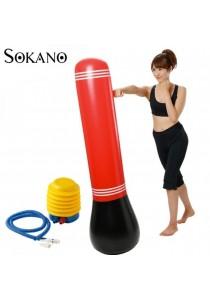 SOKANO 150cm Inflatable Punching Bag- Red (Free Manual Pump)