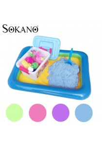 SOKANO 2kg Coloured Kinetic Sand With Container, Molds And Inflatable Tray