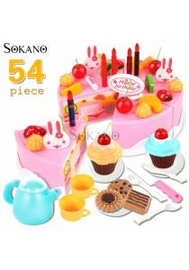 SOKANO 54 PCS DIY Cutting Fruit Birthday Cake Food Play Toy Set With Music - Pink