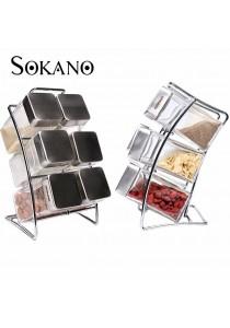 SOKANO Elegant Spice Rack With 6 pcs Square Jars