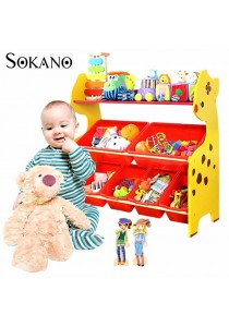SOKANO ONSHINE Kids Premium 3 Tiers Toy Organizer with 6 Colourful Storage Bins (Giraffe)