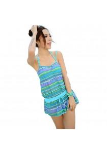 SoKaNo Trendz 3 in 1 Sexy Bikini Beach Wear With Outer Dress (Blue)