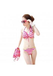 SoKaNo Trendz 3 in 1 Sexy Bikini Beach Wear With Outer Dress (Pink)