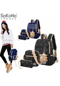 SoKaNo Trendz Korean Style SKN732 Canvas Backpack Set of 3 (Black)