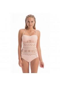 SoKaNo Trendz One Piece Lace Padded Sexy Beach Wear (Beige)