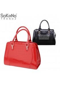 SoKaNo Trendz SKN810 Premium Faux Crocodile Design Top Handle Tote Bag