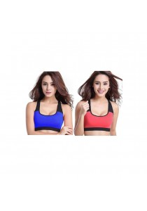 SoKaNo Trendz Wireless Padded Sport Bra Set of 2- Blue and Pink