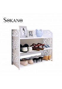SOKANO WF003 3 Tiers European Style Shoe Rack White