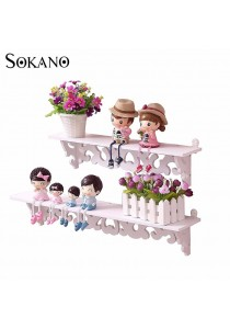 SOKANO WF009 European Style 2 Tiers Wooden Decoractive Hanging Shelf - White