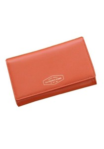 Momorain Korean Fashion Iconic Faux Leather Multifunction Wallet (Orange)