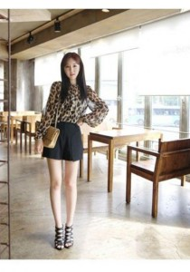 Korean Fashion Leopard Print Chiffon Top - ST90352 (Leopard Print)