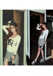 Korean Fashion Long Sleeve Top - ST92083 (White)