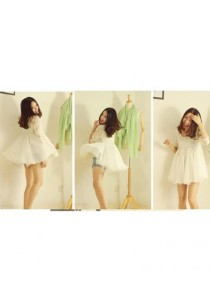 Korean Fashion Chiffon Lace Top - ST93169 (White)