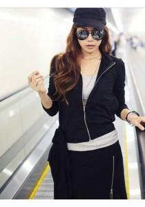 Korean Stylish Set (Jacket & Skirt) - ST98268 (Black)