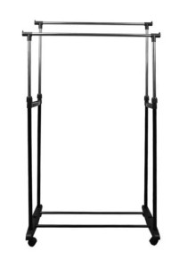 Durable Steel & Adjustable Height Double Garment Rack