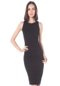 Cats Whiskers Sleeveless Gathered Waist Fitted Dress (Black)