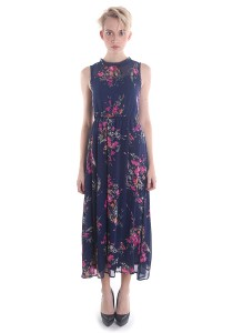 Cats Whiskers Floral Chiffon Cut In Maxi Dress (Navy Blue)