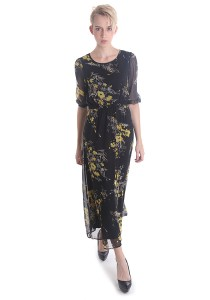Cats Whiskers Floral Chiffon 3/4 Sleeves Maxi Dress (Black)