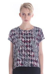 Cats Whiskers Retro Print Boat Neck Top (Red)