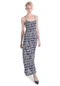 Cats Whiskers Retro Print Smocking Maxi Dress (Blue)