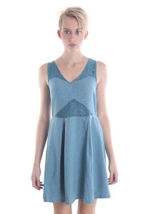 Cats Whiskers Tweet & Lace Sleeveless Flare Dress (Turquoise)