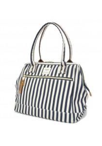 100% Authentic Anello Canvas Cotton Handbag Stripe Navy