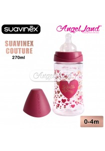 Suavinex Set 3 Position Haute Couture 270ml Bottle Twin Pack + Chain + Soother (Girl) 302445