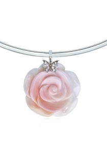 Sweet Rose Conch Shell & Butterfly Pendant Choker Necklace