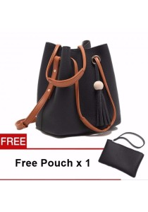 TEEMI Large Bucket 2-way Shoulder Sling Bag PU Faux Leather FREE Pouch