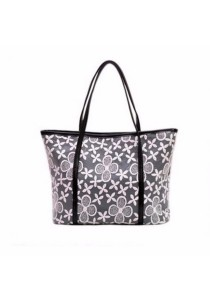 TEEMI Vintage Elegant Bud Silk Lace PU Leather Tote Shoulder Bag