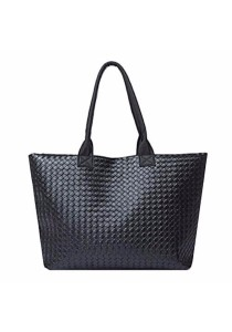 TEEMI Black Woven Large PU Leather Tote Bag / Shoulder Bag / Handbag