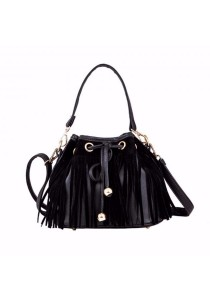 TEEMI Fringed Bucket Drawstring 3-way Faux Leather Feminine Crossbody Handcarry Black Tote Shouder Bag