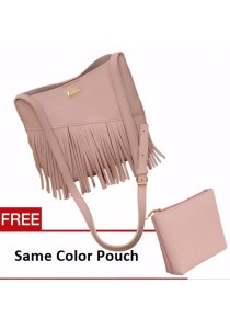 TEEMI Fringed Wild West Style Sling Crossbody PU Faux Leather Bag FREE Pouch