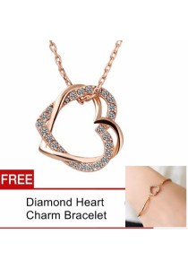 TEEMI Love Knot Diamond Rhinestone Pendant Necklace FREE Bracelet