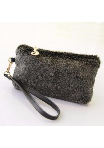 TEEMI Elegant Faux Fur Wristlet Clutch Purse Wallet Mini Cute Feminine Bag Cat Ornament Zipper