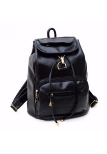 TEEMI Chic Street Style PU Faux Leather Backpack Shoulder Bag Rucksack Cabin Hook Drawstring